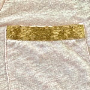 J. Crew Tops - J. Crew Pink T with Gold Beaded Pocket, M